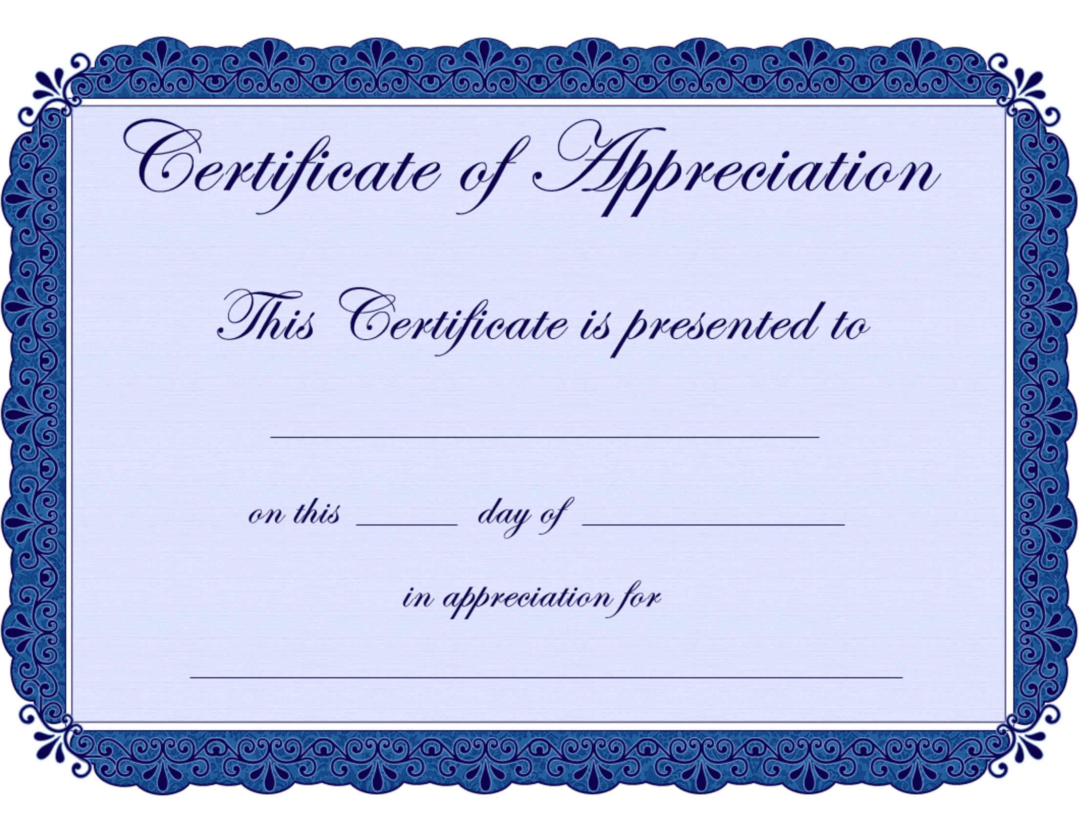 The Certificate Of Appreciation Is 8 5 X 11 Inches With Two Unmarked ...
